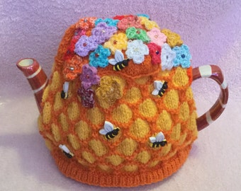 Bee & Flowers Honeycomb Hand Knitted Tea cosy