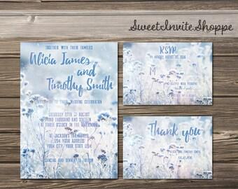 Boho Wedding Invitation Set, Blue Field Invitation, Rustic Wild Flowers Wedding Invitation, Country Wedding Set, Outdoor Invitation Suite