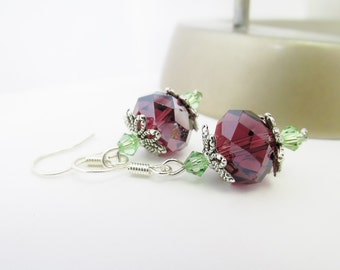 Swarovski Crystal Elements Bicone Bead Earrings - Sterling Silver Earrings - Beaded Round Purple & Green Dangle Earrings - Handmade Gifts