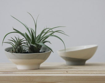 Ceramic bowl in gray and white. ceramic planter, salt and pepper, ceramic candle holder