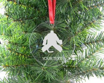Personalized Custom ice hockey goalie Clear Acrylic Christmas Tree Ornament