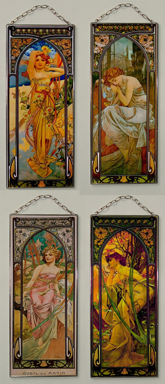 Free Alphonse Mucha. Day, Morning, Evening, Night. (Price for all
