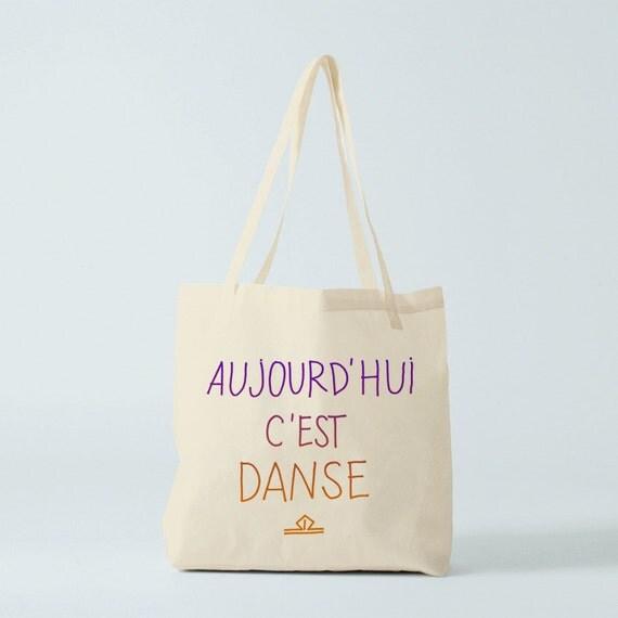 Dance Tote bag, cotton bag, french bag, gift for coworker, groceries bag, shopper bag, bag for kid, children bag, novelty gift to dance.