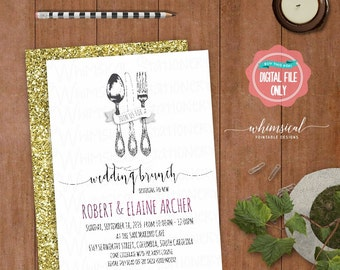 "Wedding Brunch Invitation ""Utensils, Casual"" (Printable File Only) The New Mr and Mrs Day After Wedding Brunch Fancy Fork Spoon Knife Swirly"