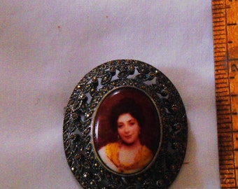 Sterling Silver and Marcasite Hand Painted Portrait Pin (173)