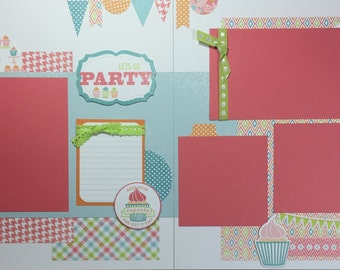 Lets Go Party Birthday- scrapbook page kit, premade scrapbook kit, 12x12 premade page kit, premade scrapbook pages, 12x12 scrapbook layout
