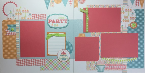 Lets Go Party Birthday 12x12 Premade Scrapbook Page Set or Kit