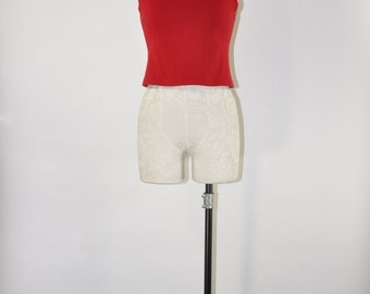 90s red cropped tank top / 1990s cotton bralette / stretchy short camisole
