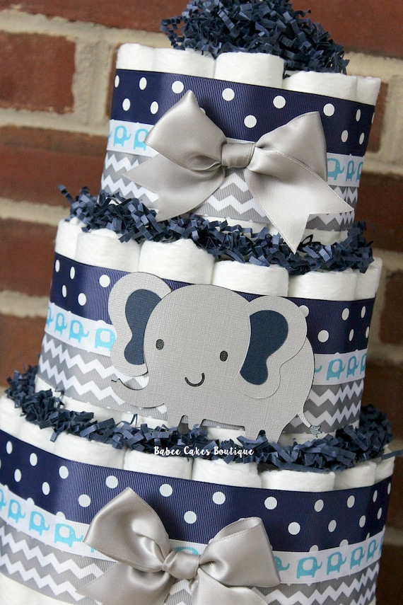3 tier gray and navy blue elephant diaper cake elephant baby. Black Bedroom Furniture Sets. Home Design Ideas