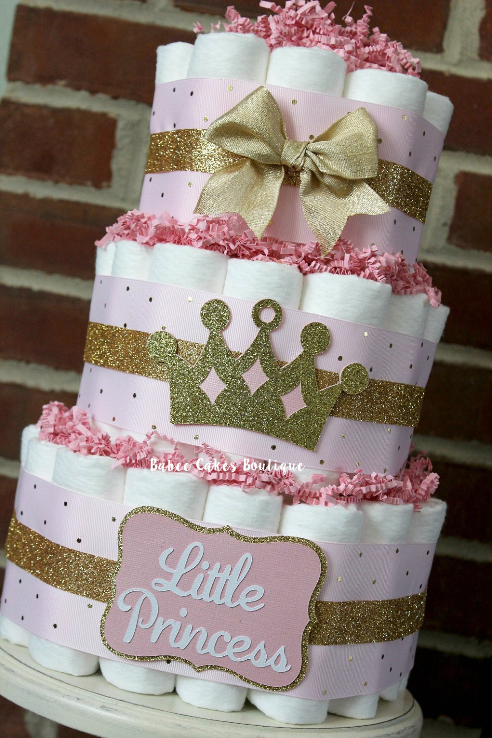 3 tier pink and gold princess diaper cake princess baby. Black Bedroom Furniture Sets. Home Design Ideas