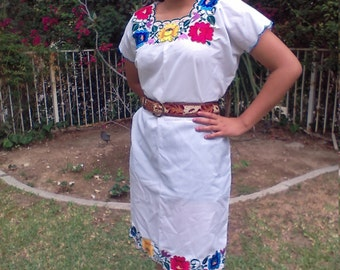 Oaxaca embroidered dress,Mexican dress,white,floral,dress,medium, Free US shipping