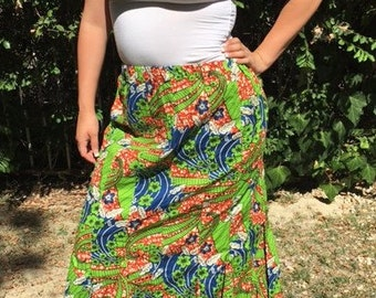 Maxi skirt,large,medium,long,stretch waist,green,red,blue,cotton skirt, Free US shipping