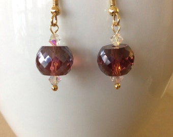 Faceted Iridescent Amethyst Glass Rondel and Crystal Dangle Earrings