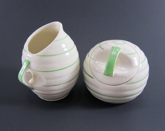 Czechoslovakian  Art Deco Creamer and Sugar Bowl Set