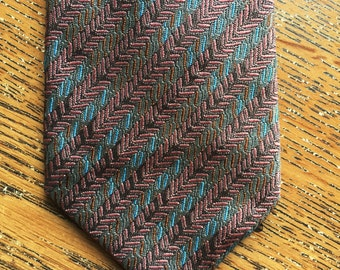 Vintage 90s Missoni Cravatte Pink Brown Green Blue Textured Tie