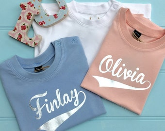 Personalised Baby Name T Shirts Boys and Girls Tee Shirts Child Pale Blue pale Pink baby birth Gift Baby Shower Gift Christening