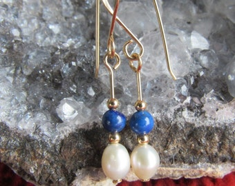 Earrings lapis, rhodonite, malachite, tigereye, coral and freshwater pearl, 12k goldfilled wire,  french earwires 12k, length 1 1/4 inch.