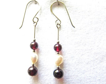 Garnet, freshwater pearl earrings, 1 3/4 inches long with 4mm, 6mm garnet, 7mm freshwater pearl, sterling silver  handmade french earwires,