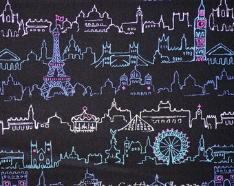 Twinkle Twinkle Paris ~ Eiffel Tower ~ Kokka Fabric ~ Japanese Fabric ~ Cotton Oxford Fabric ~ Quilting Fabric ~ Home Decor Fabric ~ Apparel
