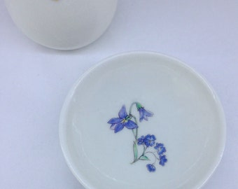 Purple flowers ceramic bowl | Wheel Thrown | Porcelain | Flower Dish