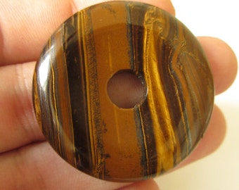 Tiger Eye Donut Shape Stone 40mmX40mmX7mm Natural Stone Mineral Cab N.623A