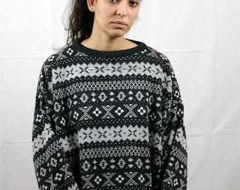 Vintage 80s abstract ikat pattern sweatshirt pull