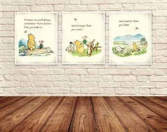Classic Winnie The Pooh Wall Art, Winnie the Pooh Prints, Pooh and piglet, Baby Nursery Art, Children's Art, Winnie the Pooh Quote.