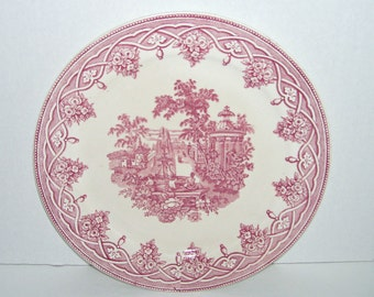Antique F J Emery Riga Pink Red Romantic Transferware Plate
