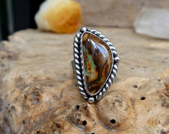 Boulder Opal and sterling silver ring // Size 6.75 // metaphysical // opal jewelry