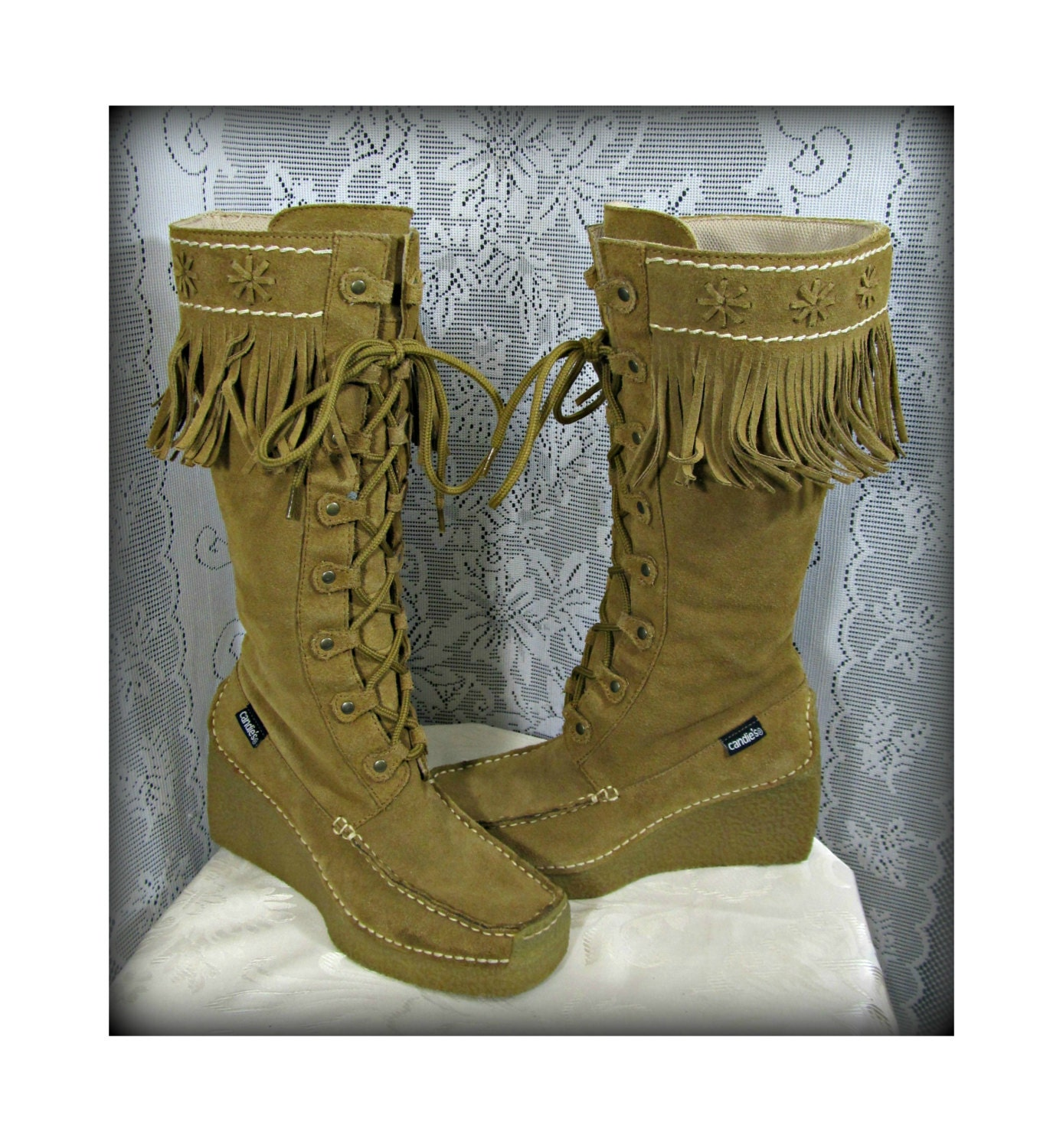 leather boots s brown boots fringe boots indian