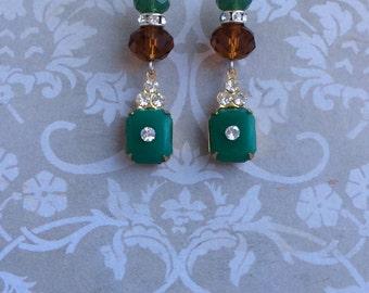 Beibhinn Earrings Scarlettsdelight, 925 silver, vintage 50s green glass rhinestone drop, dangle, Swarovski crystal, gift, Scarletts delight