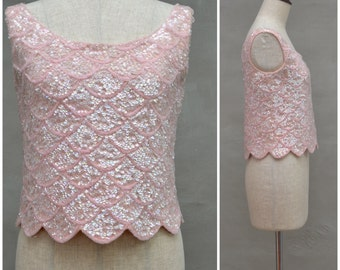 Vintage vest top, 1960's beaded knitted top, hand beaded, pretty pale pink beaded / sequined party top, Cropped styling, party knitwear, Mod