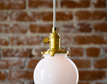 """Free Shipping! Pendant Lighting Gold Brass - 6"""" White Glass Globe - Cloth Wire - Plug In or Ceiling Canopy Mount - Edison Bulb Compatible"""