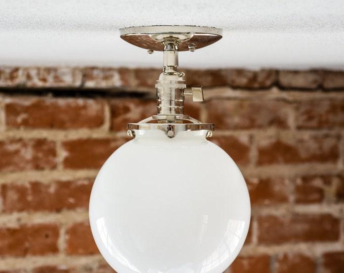 "Semi Flush Polished Nickel 8"" White Opal Globe Flush Mount Industrial Modern Ceiling Lighting Raw Brass Gold UL Listed"