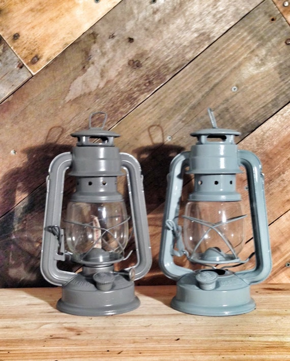 Grey railroad lantern rustic wedding decor diy by