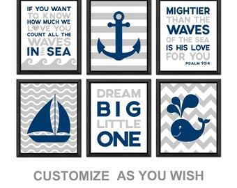 nautical boy nursery, nautical nursery decor, nautical baby gift, nautical boys room, nautical baby room decor, mightier than the waves