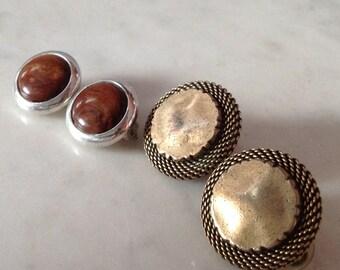 Button Clip On Earrings