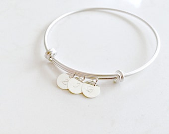 monogram Initial Bangle Personalized letters 925 Sterling Silver Circle Discs Letter Bangle Initial jewelry Monogram initials Mothers Gift