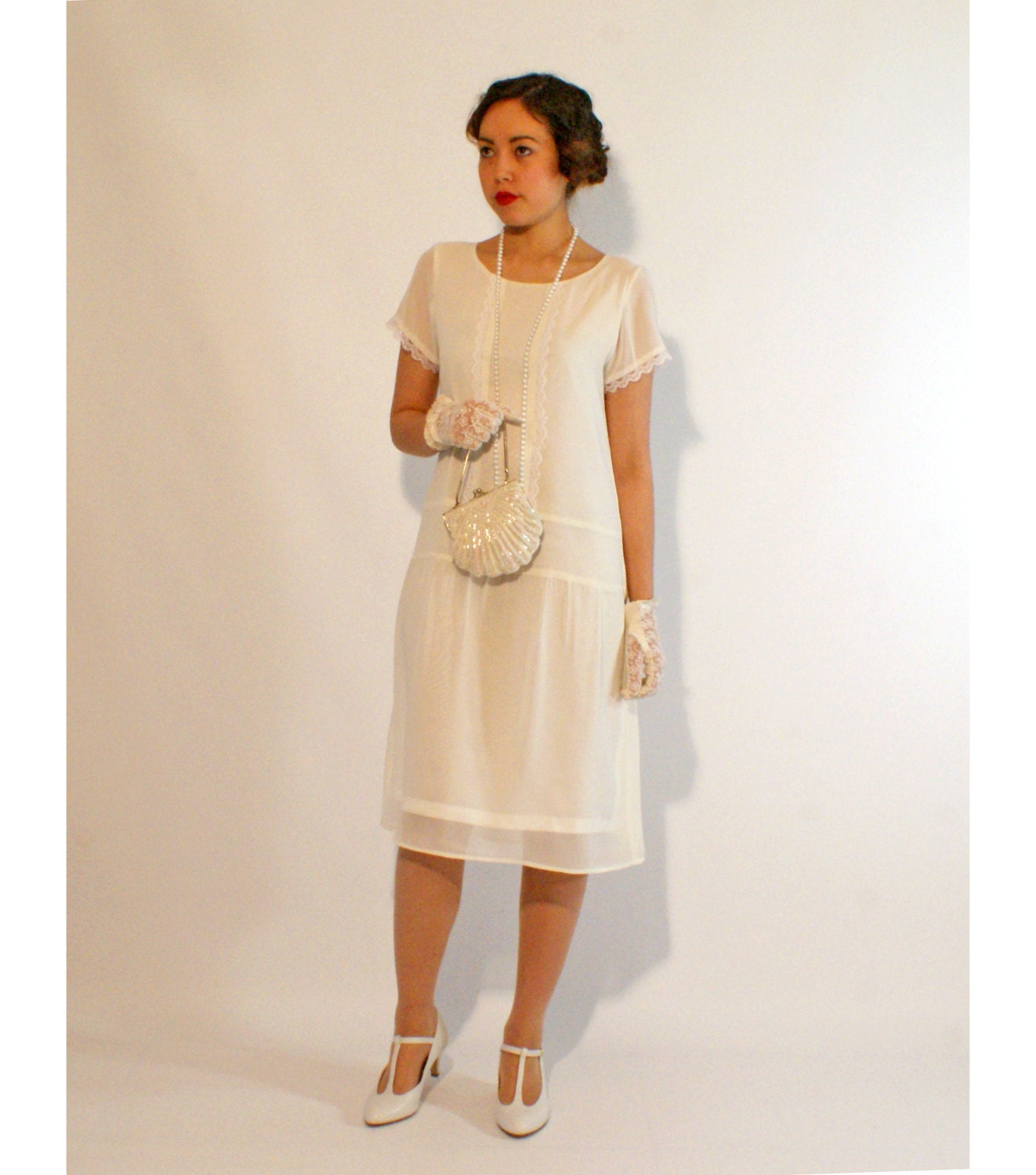 Ivory flapper dress with short sleeves 1920s flapper dress