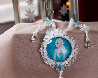 Snowflake Icy Winter Snow Queen Inspired Necklace- Swarovski Crystal Pendant Cabochon - White, Opal and Blue- Bead Woven