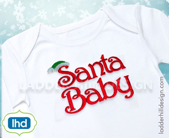 Applique Embroidery Santa Bib Design