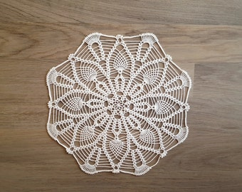 "White table topper, lace doily, round crochet centerpiece, lace crochet doily of diameter 12"", delicate lace doily, wedding table decor"