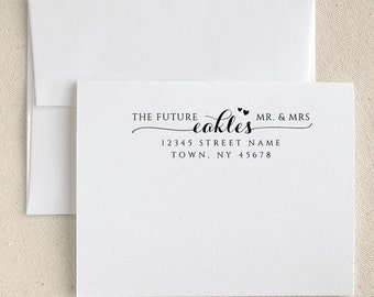 Personalized Custom Name Return Address Stamp Wedding Handle Mounted Rubber Stamp Or Pre-Inked Stamp RE779