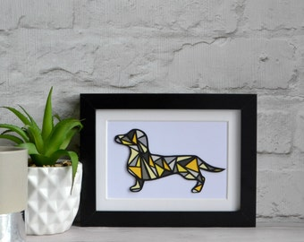 Daschund art , sausage dog art , dog lover gift , daschund gift , pet lover gift , geometric art , sausage dog gift , gift for dog lover