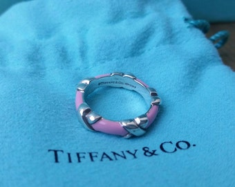 Retired Tiffany & Co Pink Enamel and Sterling Silver Signature X Ring, Vintage Tiffany and Co Enamel Stacking Ring, Tiffany Stacking Ring