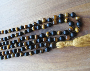 Mala Beads Tiger Eye and Matte Black Onyx, 108 Bead Mala, Tassel, Layering Necklace, Chunky Necklace, Beaded Necklace, Long Necklace