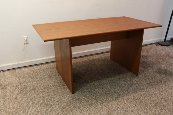 Unique narrow mid century danish modern teak by for Modern narrow dining table