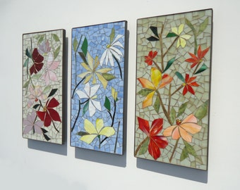 SALE! MOSAIC glass mural - SET of 3 - stained glass inlaid mosaic wall hanging panel- indoor/outdoor art