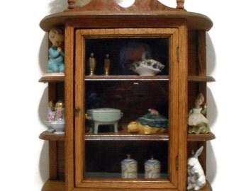 Wood Oak Vtg Display Case for Miniatures Curio Cabinet Wall Shelf Glass Door