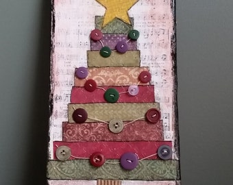 Clearance! Rustic Christmas Tree Mixed Media Sign; Button Garland; Whimsical Decor; Wood Plaque; Primitive Christmas Tree